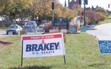 It was just last November when political signs dotted every Maine roadway. They'll soon be back, as the 2020 campaign season heats up. (Kevin Bowe)