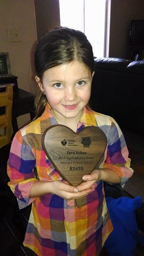 """PHOTO: First-grader Tara Eckes of Hayward, Wis., was the leading fundraiser in the American Heart Association's """"Jump Rope For Heart"""" competition. Only one community in the nation raised more money than Hayward, where residents contributed more than $100,000. Photo courtesy AHA-Wisconsin."""