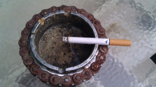PHOTO: Advocates of a statewide smoke-free workplace law are hoping Kentuckians will be seeing fewer indoor ashtrays by 2015, as they promote proposed indoor smoking ban legislation around the commonwealth this week. Photo credit: Greg Stotelmyer.