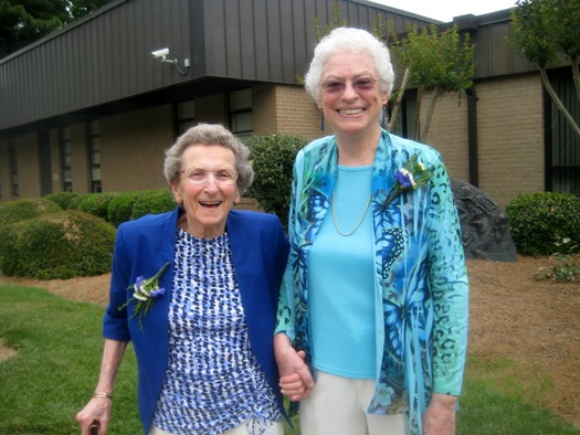 PHOTO: Lennie Gerber (left), and her wife Pearl have been together for 48 years. They're among the plaintiffs in a suit challenging Amendment One. Courtesy: Gerber.