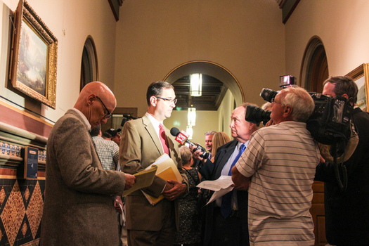 PHOTO: EANY's Peter Iwanowicz talks with reporters about what he calls the raid of state Clean Water Funds to pay for bridge reconstruction. Photo credit: Loren Baum.