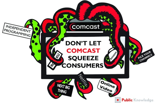 GRAPHIC: The media watchdog group Public Knowledge uses an octopus metaphor in its opposition to media mergers such as the proposed Comcast takeover of Time Warner. Image credit: Public Knowledge.