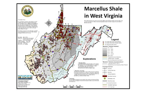 MAP: The thousands of Marcellus gas wells permitted in West Virginia are producing hundreds of thousands of tons of drill cuttings each year. They contain naturally occurring, low-level radioactive waste, a serious issue for the state's landfills. Map courtesy West Virginia Geologic and Economic Survey.