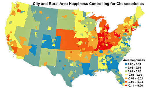 """GRAPHIC: How happy are you, and how much does that matter to you? New research ranks three Indiana cities among the """"least happy"""" in the country. Graphic courtesy Harvard University and the University of British Columbia."""