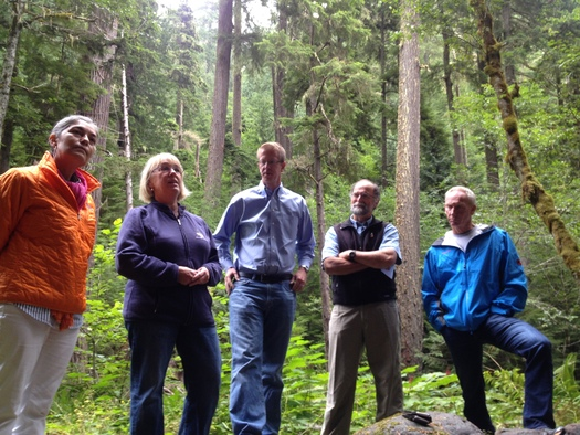 PHOTO: People who shared their reasons for supporting Wild Olympics legislation with reporters on Thursday included, from left, Michelle Sandoval (Port Townsend), Sen. Patty Murray, Rep. Derek Kilmer, Tim McNulty (Sequim), and Bill Taylor (Shelton). Photo credit: Thomas O'Keefe.