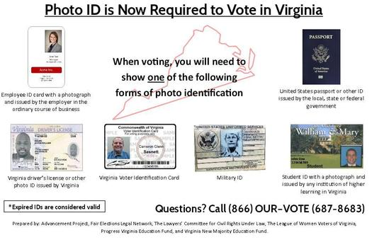 GRAPHIC: A local election on the 19th will be the first time a photo I.D. will be required to cast a ballot, as required by the commonwealth's new voter I.D. law. The League of Women Voters is concerned many Virginians are not aware of the new rules. Photo credit: League of Women Voters of Virginia.