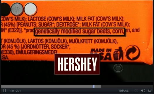 PHOTO: This image, from a presentation by Michael Hansen of Consumer Reports, shows the label of a candy bar sold in Europe, where food companies already are required to label their genetically-engineered ingredients. Photo courtesy Michael Hansen.