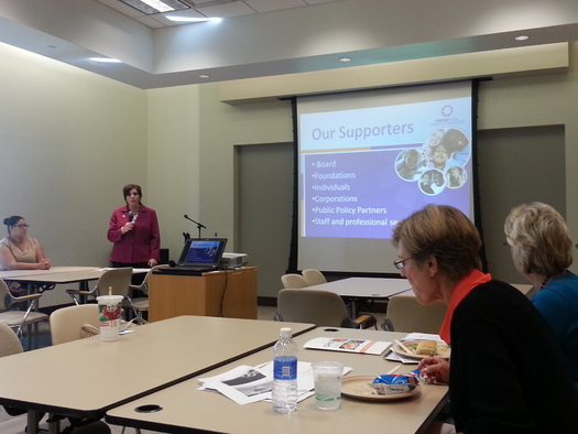 PHOTO: Sandy Oxley of Voices for Ohio's Children presents their new brief Tackling Child Hunger in Ohio, which examines efforts to address food insecurity among the youngest Ohioans. Photo courtesy of Joree Jacbos.