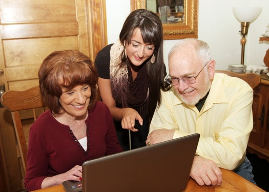 Photo: Older Coloradans are getting help with using technology through an AARP program called Mentor Up. Courtesy: AARP CO