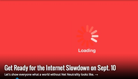 GRAPHIC: The frustrating indicator of a slow download, known by many computer users as the spinning wheel of death, will be seen all over the Internet today. It's a symbolic protest of government plans to create online fast lanes and slow lanes. Graphic courtesy FreePress.org.