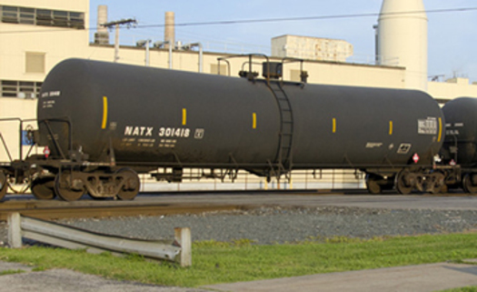 PHOTO: Eleven oil-by-rail projects have been proposed for the Northwest since 2012. This car, known as a DOT-111, is the type that carries Bakken crude oil. Photo courtesy U.S. Pipeline and Hazardous Materials Safety Administration.