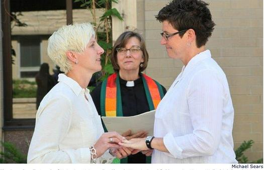 PHOTO: Same-sex marriages are now legal in Wisconsin, following the U.S. Supreme Court's decision not to hear appeals from Wisconsin and four other states regarding the matter. Some Wisconsin county clerks began issuing marriage licenses to same-sex couples immediately following the decision. Photo courtesy of Michael Sears, One Wisconsin Now.