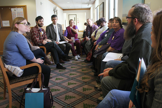 PHOTO: State government and home care workers meet with legislators in early 2014. Some members of SEIU Local 503 donate as little as $5 a month to a fund for candidate contributions and endorsements. Photo courtesy SEIU Local 503.