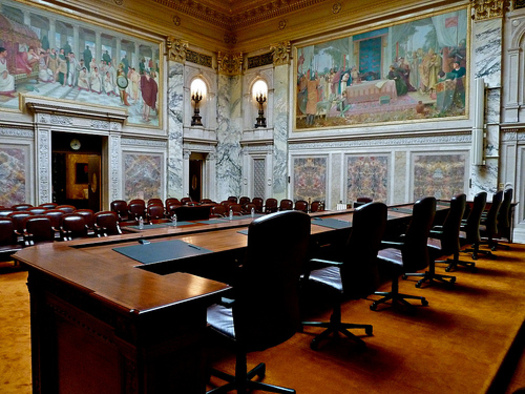 PHOTO: The nonpartisan watchdog group Wisconsin Democracy Campaign says the state Supreme Court is compromised because of so many conflicts of interest, mainly involving political campaign contributions. (Photo of Wis. Supreme Court Chambers courtesy of Wis. Court System)