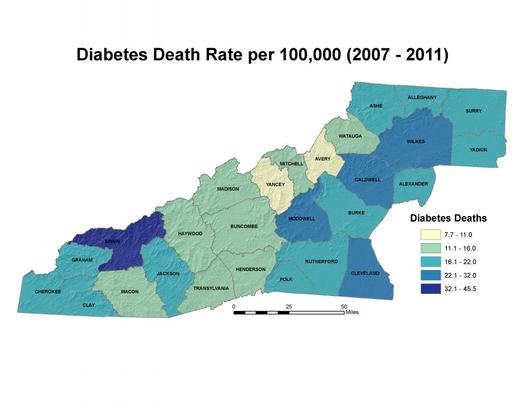 PHOTO: Swain County has the highest death rate when it comes to diabetes, with McDowell, Cleveland, Caldwell and Wilkes Counties also having high rates, according to the WNC Vitality Index. Image credit: WNC Vitality Index