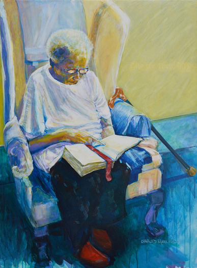 "PHOTO: Charles Williams painted this picture of his Aunt Cookie. Williams, who is her caregiver, calls his painting ""Daily Bread"" because he says his aunt reads her Bible daily. Photo courtesy Charles Williams."