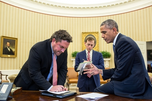 Photo: President Obama works on his immigration speech with Director of Speechwriting Cody Keenan and Senior Presidential Speechwriter David Litt in the Oval Office. Photo credit: Pete Souza, WhiteHouse.gov