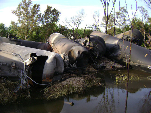 PHOTO: A federal lawsuit filed this week asks the U.S. Department of Transportation to ban the use of DOT-111 tank cars for shipping crude oil because of safety and durability issues. Photo of damage to DOT-111 tank cars courtesy of National Transportation Safety Board.