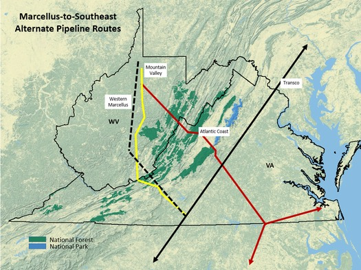 MAP: Three large pipelines have all plotted paths though national forests. Map courtesy of Appalachian Mountain Advocates.