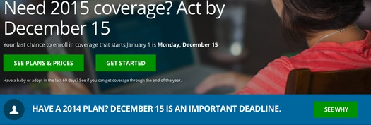 PHOTO: Time is running out for Michigan residents who wish to enroll in a health insurance plan or change their 2015 coverage to begin in January. Image courtesy of healthcare.gov.