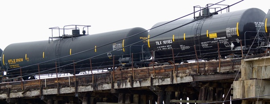 PHOTO: About two-thirds of the crude oil shipped by rail in the United States is transported in DOT-111 tank cars. A lawsuit alleges they aren't sturdy or safe enough for that purpose, and asks the U.S. Department of Transportation to ban their use for oil shipment. Photo credit: dhaluza/Wikipedia.