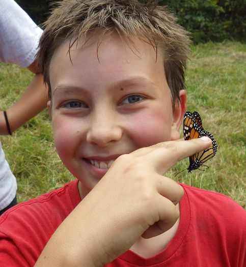 PHOTO: Macon County fifth- and sixth-grade students gain hands-on education in migration patterns and butterflies at the Tessentee Bottomland Preserve. Photo credit: Land Trust for the Little Tennessee.