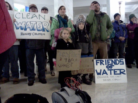 PHOTO: A year ago the tap-water contamination crisis brought protesters to the state Capitol. Events on Friday will commemorate the Elk River spill, just as the Legislature prepares to take a second look at the law passed to deal with the crisis. Photo by Dan Heyman