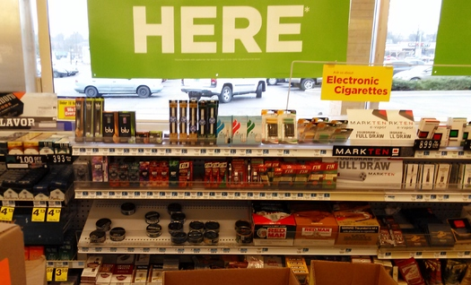 PHOTO: Electronic cigarettes are prominently displayed on store shelves across Kentucky, but a new report finds the number of calls to poison-control centers about e-cig incidents more than doubled last year. Photo credit: Greg Stotelmyer.