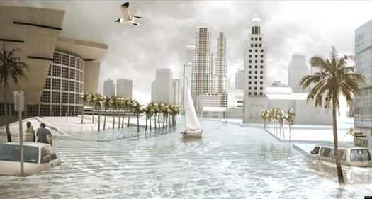 GRAPHIC: This illustration is a hypothetical look at Miami's wet future. The possibility has sparked a Miami-Dade County plan to fight climate change. Image courtesy of Florida Center for Environmental Studies.