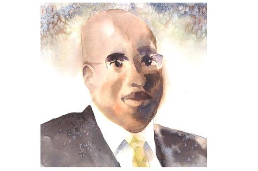IMAGE: Former CIA case officer Jeffrey Sterling faces prison for leaking secrets to the press. Observers think his real offense is embarrassing the agency. Watercolor by Debra Van Poolen.