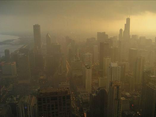PHOTO: A smoggy day in Chicago is the result of ground-level ozone, or smog that can make breathing more difficult for many people. Photo credit: sfquixote/Flickr.