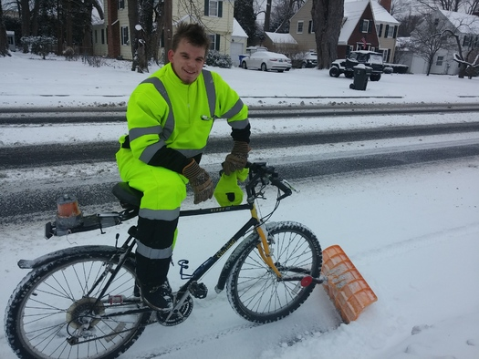 PHOTO: It is a tough time of year for biking, but a new challenge from the head of the U.S. Department of Transportation could make streets safer for all in Connecticut. Credit: K. Kennedy
