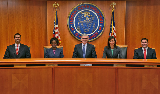 "PHOTO: Tom Wheeler (center), chairman of the Federal Communications Commission, is seeking to regulate the Internet as a utility in order to ensure ""net neutrality"" for all Internet users. Photo courtesy of the FCC."