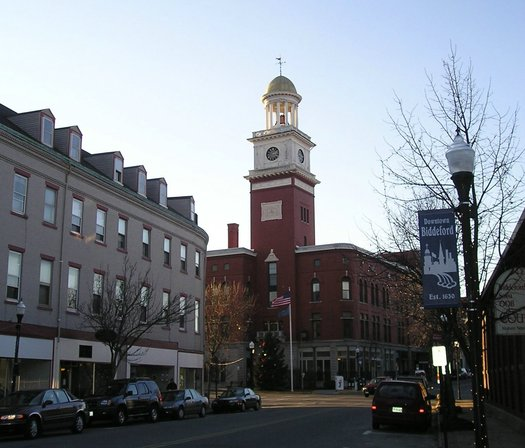 PHOTO: A revitalized downtown and Mill District of Biddeford is one of the success stories in a new report that says Maine's nonprofit organizations contribute an estimated $10 billion to the state's economy. Photo credit: Tomasso/Wikimedia Commons