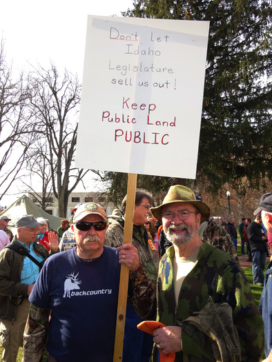 "PHOTO: About 500 hunters, anglers, and fans of outdoor recreation rallied on the Statehouse steps today for the ""keep public lands in public hands"" rally. Photo credit: Deborah C. Smith."