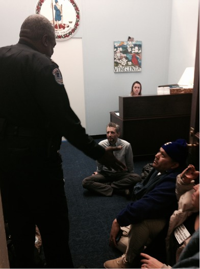 """PHOTO: Immigration reform activists occupied dozens of U.S. congressional offices over what they call the """"moral crisis"""" of a broken immigration system. Photo credit: Julie Karant."""