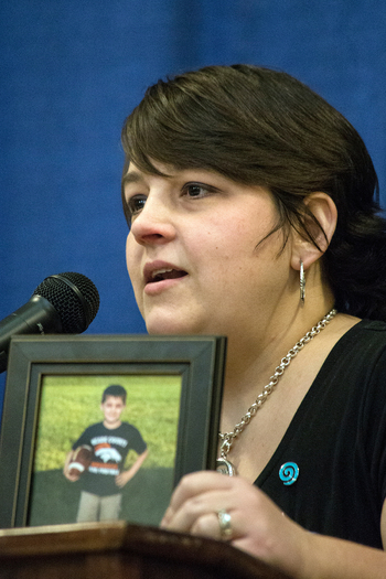 PHOTO: Laura Tarakam, who lost a son to an asthma attack, wants the Kentucky Senate to pass a statewide smoke-free law. She says while secondhand smoke was not the cause of her son's death, it can be a trigger for asthma. Photo courtesy Smoke-Free Kentucky.