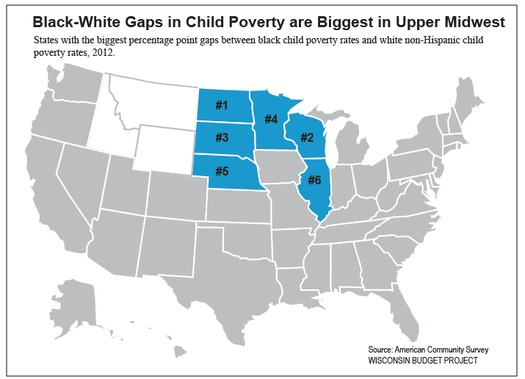 GRAPHIC: This illustration shows Wisconsin's huge disparity between children of color living in poverty and white children living in poverty. A new Annie E. Casey Foundation report describes a more useful way of measuring poverty and identifying programs that are effective in fighting it. Image courtesy of Wisconsin Budget Project.