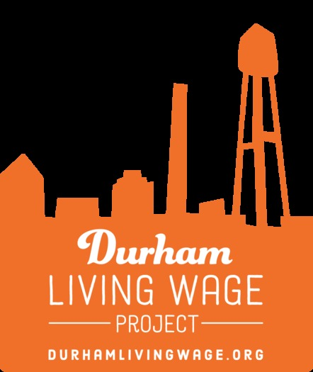 Photo: Durham residents now can look for this logo on websites or at business entrances to find out if the business pays its employees a living wage. Photo credit: Durham Living Wage Project