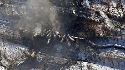 PHOTO: Four oil-train derailments and explosions in a single month (Feb.) prompted two U.S. Senators to introduce legislation outlining major oil shipment safety improvements. Photo of the Fayette County derailment courtesy Office of Gov. Earl Ray Tomblin.
