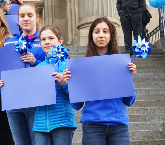 PHOTO: About 200 people gathered on the Capitol steps in Boise to kick off Child Abuse Prevention Month in Idaho yesterday. Photo credit: Deborah C. Smith