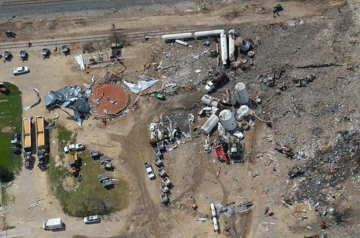PHOTO: The 2013 explosion in West, Texas, killed 15 and caused as much as $230 million in damages, a number dwarfed by the West Fertilizer Co.'s $1 million insurance policy. A bill in the Texas Legislature proposes using private market forces to ensure safe storage of ammonium nitrate. Photo credit: Shane.Torgerson/Wikimedia Commons.