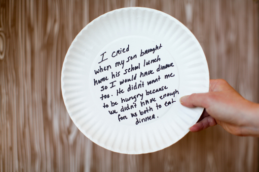 PHOTO: On Thursday, Oregon lawmakers will read handwritten messages on hundreds of paper plates from food bank clients from across the state, as part of advocacy efforts for the Oregon Hunger Response Fund. Photo courtesy Oregon Food Bank.