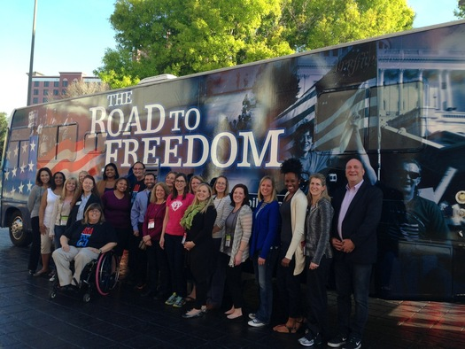Picture of Road to Freedom Bus and many individuals who attended the Nashville celebration in front of it