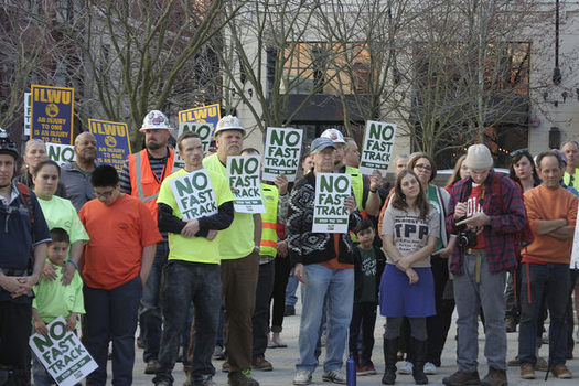 PHOTO: For months, Oregon labor groups have joined others in marches and rallies against the Trans Pacific Partnership. They say the 12-nation trade agreement will cost U.S.-based jobs. Photo courtesy Oregon AFL-CIO.