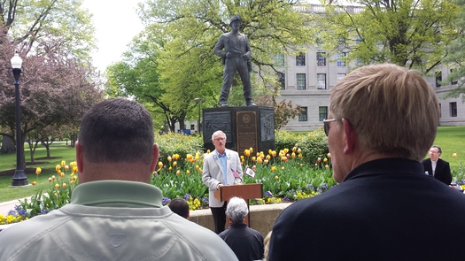 PHOTO: Speakers, including West Virginia AFL-CIO President Kenny Perdue, brought up mine deaths and mine safety at the annual Workers Memorial Day observance on the State Capitol grounds. Photo credit: Dan Heyman.
