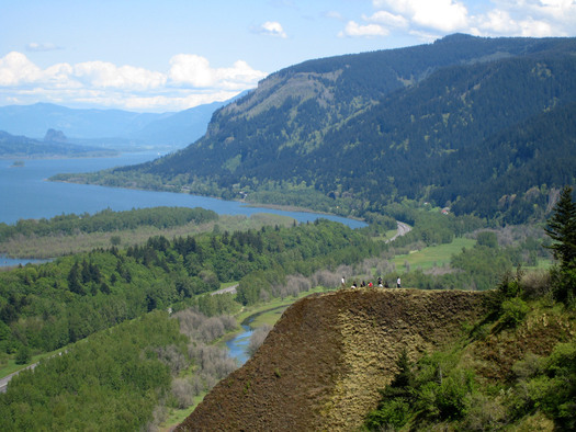 The Columbia River Gorge is known for its scenic views and world-class windsurfing, but it is increasingly becoming a corridor for crude oil shipments by rail. Credit: Wikipedia.