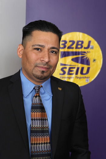 Jaime Contreras, SEIU 32BJ vice president and capital area director, says commercial property cleaners have made progress in wages, but too many work part-time. Workers are rallying this week in Bethesda and Baltimore. Credit: SEIU 32BJ.
