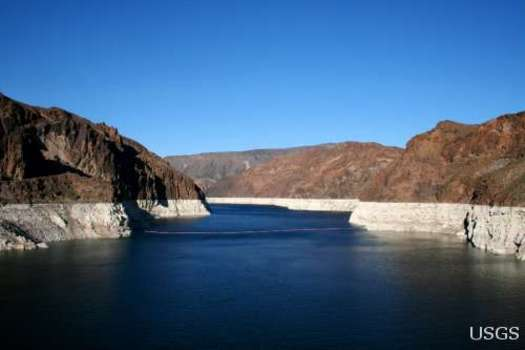 PHOTO: Lake Mead is at its lowest level in history again this summer. A ProPublica investigation probes some of the political and policy reasons that may be exacerbating the drought. Photo credit: Alicia Burtner, U.S. Geological Survey