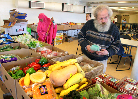 Hunger-fighting advocates in Maine say food pantries have been busier as a result of work requirements for SNAP benefits that they say can be particularly difficult for many veterans. Courtesy of Preble Street.